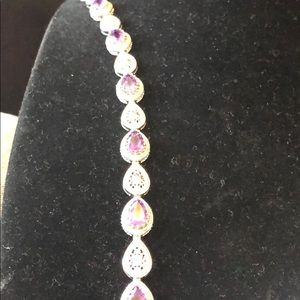 "Sterling Silver Amethyst 7"" Bracelet"
